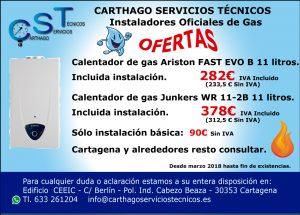 Instalación de calentadores de gas. Marzo 2018. carthago Servicios Técnicos.