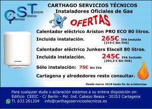 Instalación calentadores eléctricos. Marzo 2018. Carthago Servicios Técnicos.